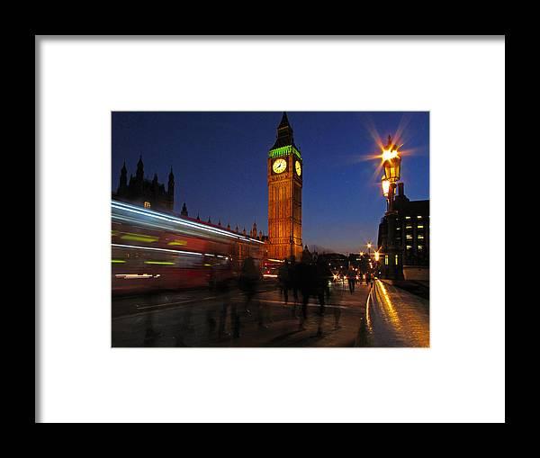 London England Europe Tourism Clock Bus People Night Bridge Sky Light Scene Poplw Framed Print featuring the photograph London 3 by Bea Kovacs