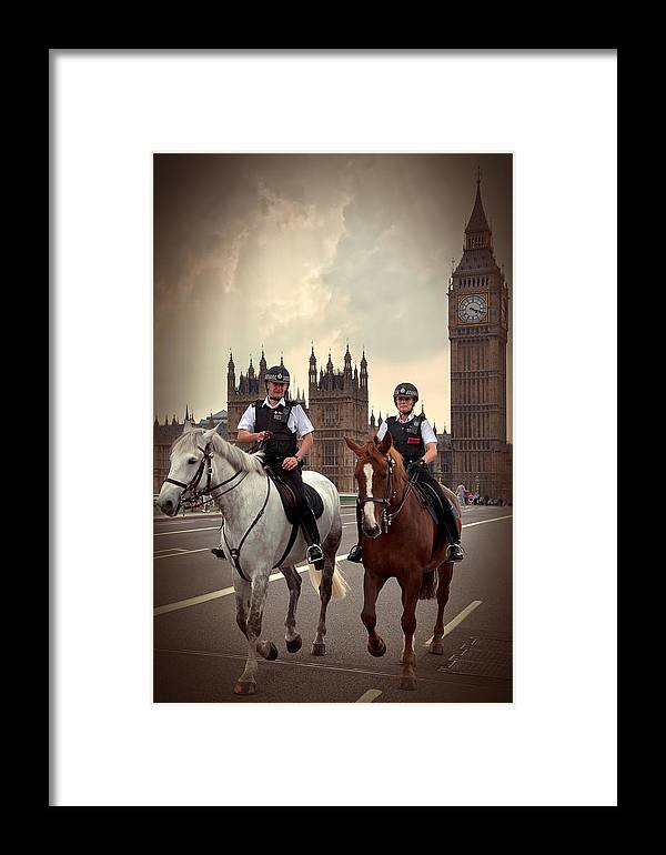 Active Framed Print featuring the photograph London Police by Svetlana Sewell
