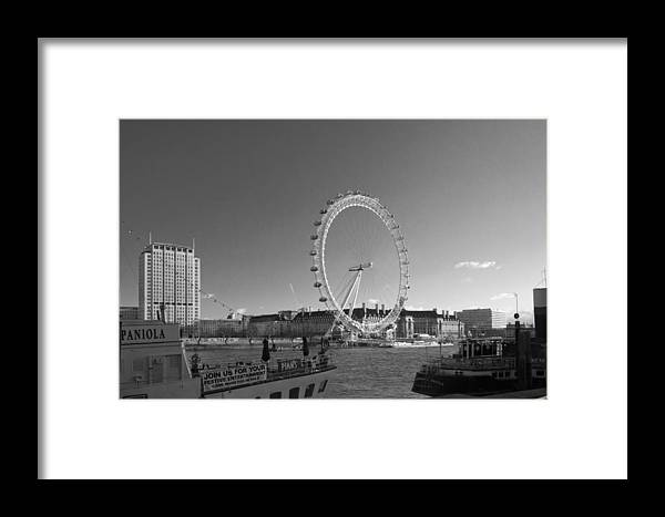 Westminster Framed Print featuring the photograph London Skyline Edf Eye Bw by David French