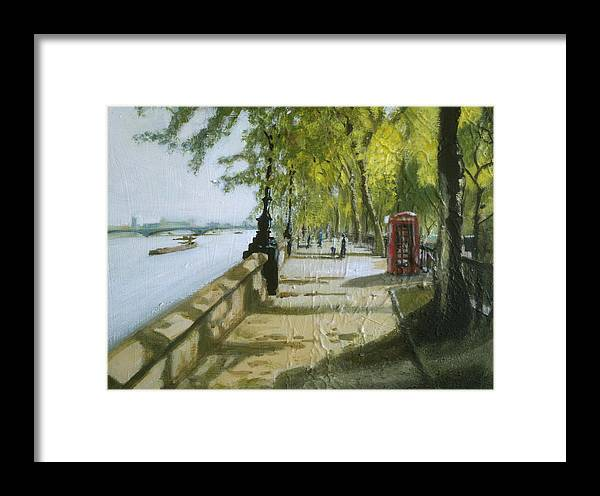 London Framed Print featuring the painting London Westminster Embankment by Paul Mitchell