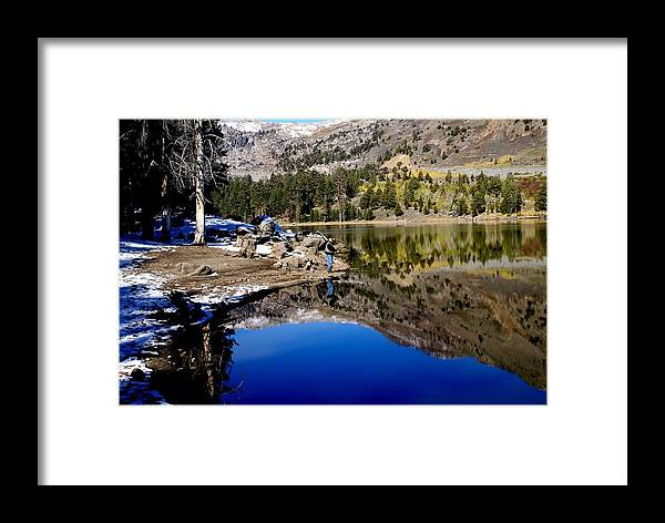 Lake Framed Print featuring the photograph Lone Fisherman by Michael Courtney