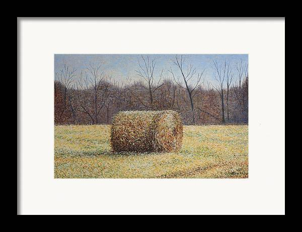 Haybale Framed Print featuring the painting Lone Haybale by Patsy Sharpe