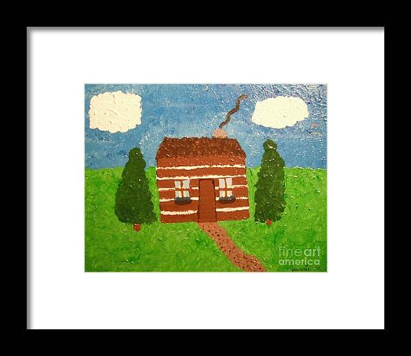 Cabin Framed Print featuring the painting Lone Log Cabin by Jeannie Atwater Jordan Allen