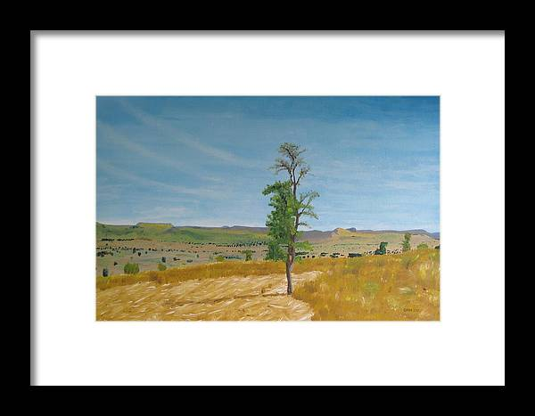 Africa Framed Print featuring the painting Lonely Tree In Africa by Glenn Harden