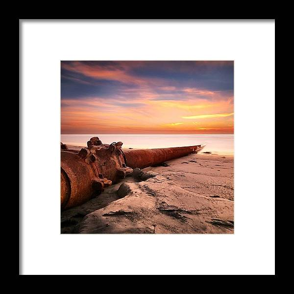 Framed Print featuring the photograph Long Exposure Sunset At Cardiff State by Larry Marshall