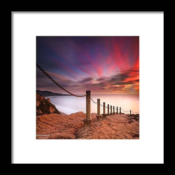 Framed Print featuring the photograph Long Exposure Sunset Shot From The by Larry Marshall