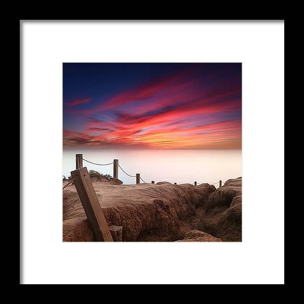 Framed Print featuring the photograph Long Exposure Sunset Taken From The by Larry Marshall