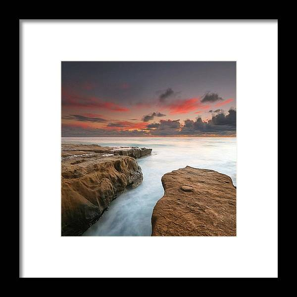 Framed Print featuring the photograph Long Exposure Sunset Taken Just After by Larry Marshall