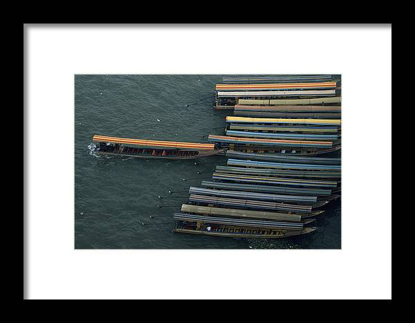 Chao Phraya River Framed Print featuring the photograph Long-tail Boats Anchored On The Chao by Paul Chesley