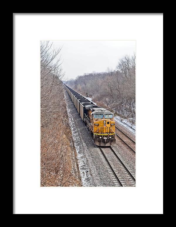 Train Framed Print featuring the photograph Long Train Home by Brenda Becker