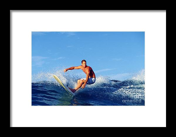 Ocean Framed Print featuring the photograph Longboard Surfer by Paul Topp