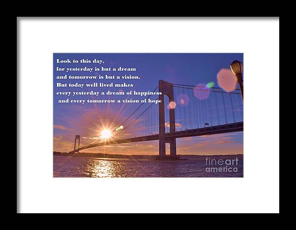 Photograph Framed Print featuring the photograph Look To This Day by Artie Wallace