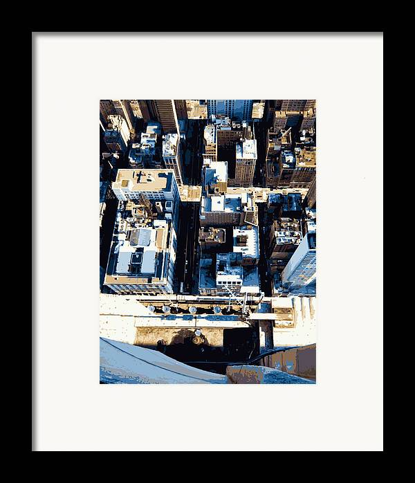 Empire State Building Framed Print featuring the photograph Looking Down Color 16 by Scott Kelley