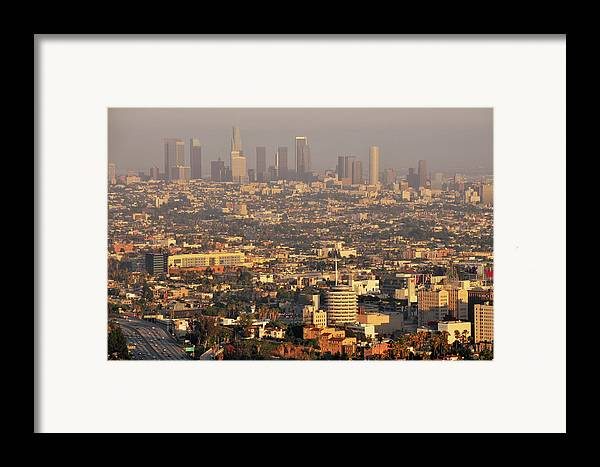 Horizontal Framed Print featuring the photograph Los Angeles Skyline by Photo by Seattle Dredge