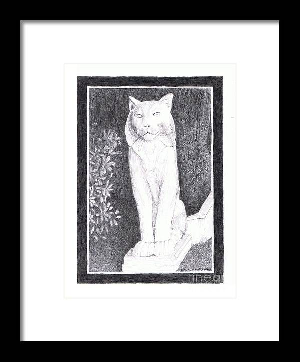 los Gatos Cat Framed Print featuring the drawing Los Gatos Cat Statue Leo by Teri Naomi