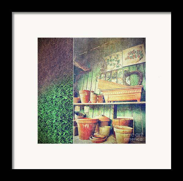 Basket Framed Print featuring the photograph Lots Of Different Size Pots In The Shed by Sandra Cunningham