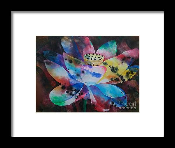 Flower Framed Print featuring the painting Lotus 3 by Crystal N Puckett