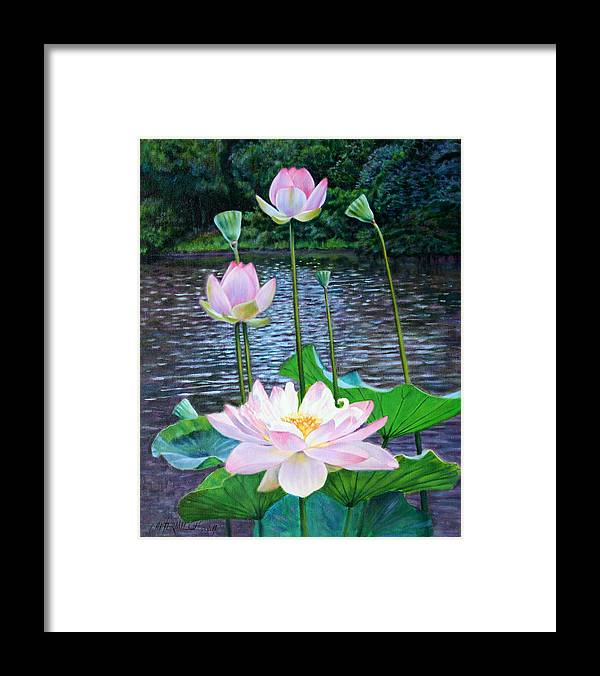 Lotus Framed Print featuring the painting Lotus by John Lautermilch
