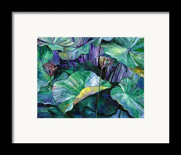Lotus Framed Print featuring the painting Lotus Pond by Carol Mangano