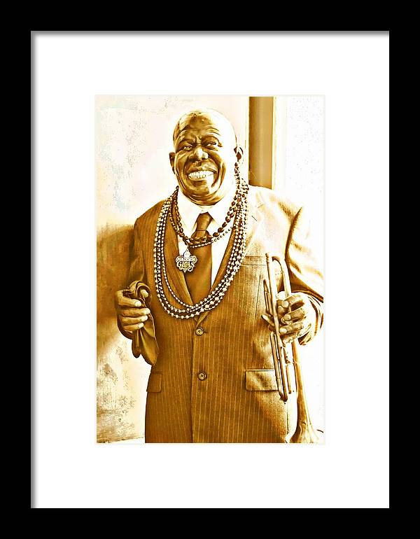Louis Armstrong Framed Print featuring the digital art Louis Armstrong by Carrie OBrien Sibley