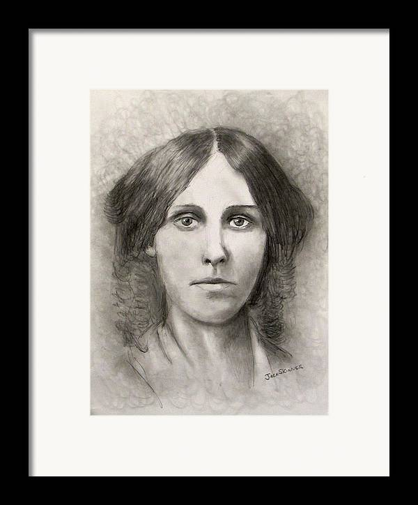 Louisa May Alcott Framed Print featuring the drawing Louisa May Alcott by Jack Skinner