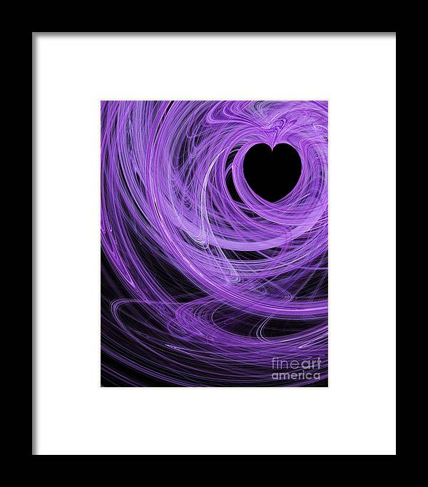 Fractal Framed Print featuring the digital art Love Swirls . A120423.689 by Wingsdomain Art and Photography