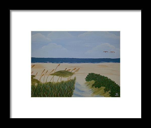 Nature Framed Print featuring the painting Lovebirds At The Beach by Jeannette Brown