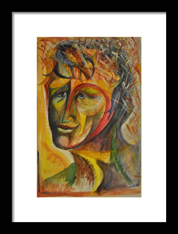 Face Framed Print featuring the painting Loved Face by Valeria Giunta