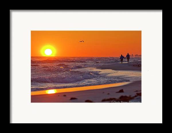 Beach Framed Print featuring the photograph Lover's Stroll by Charles Warren