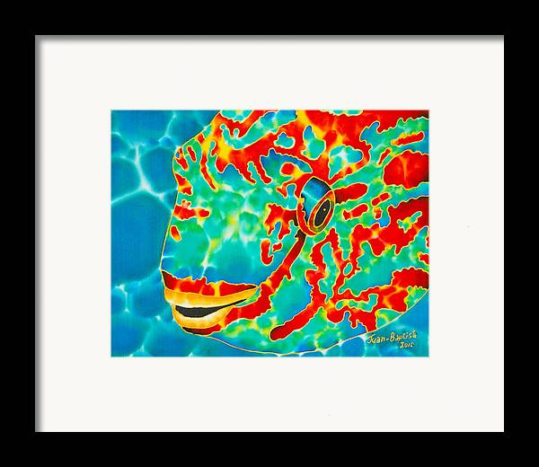 Fish Painting Framed Print featuring the painting Lucky Parrotfish by Daniel Jean-Baptiste