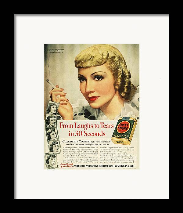1938 Framed Print featuring the photograph Luckys Cigarette Ad, 1938 by Granger