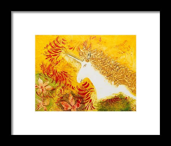 Unicorn Framed Print featuring the mixed media Luna by Dawn Green