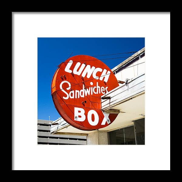 Neon Sign Framed Print featuring the photograph Lunch Box by David Waldo