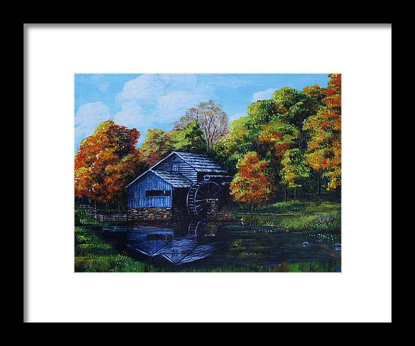 Autumn Framed Print featuring the painting Mabry Mill In Autumn by Shirley Heyn