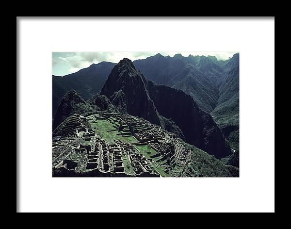 Machu Picchu Framed Print featuring the photograph Machu Picchu, A Pre-columian Inca Ruin by Ira Block