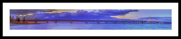 Mackinac Framed Print featuring the photograph Mackinac Bridge After Sunset by Twenty Two North Photography