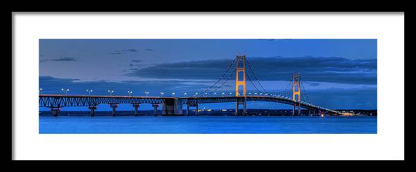 Mackinac Framed Print featuring the photograph Mackinac Bridge In Evening by Twenty Two North Photography