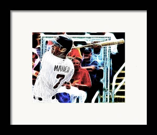 Minnesota Twins Framed Print featuring the digital art Magical Joe Mauer by Paul Van Scott
