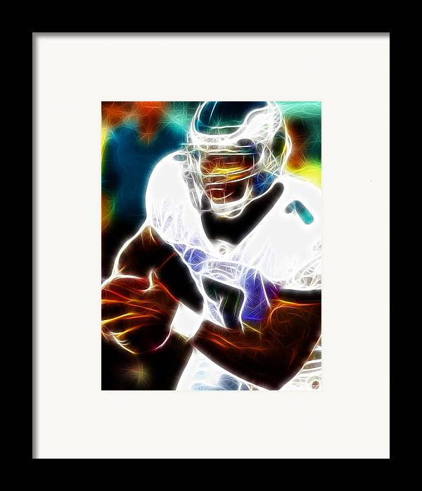 Mike Vick Framed Print featuring the painting Magical Michael Vick by Paul Van Scott
