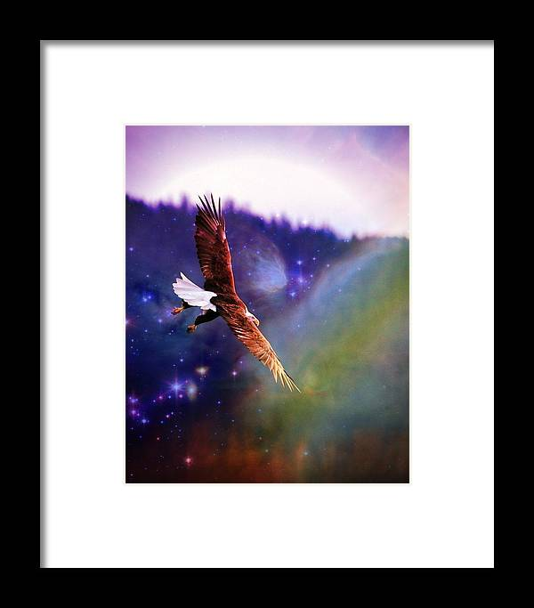 Bald Eagle Framed Print featuring the digital art Magical Moment 2 by Carrie OBrien Sibley