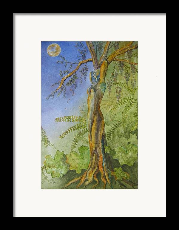 Fantasy Landscape With Figure Framed Print featuring the painting Maiden - Earth Mother Iv  by Patsy Sharpe