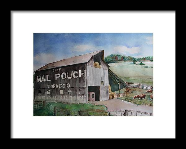 Chew Mail Pouch Barn Landscape Country Amish Framed Print featuring the painting Mailpouch by David Ignaszewski