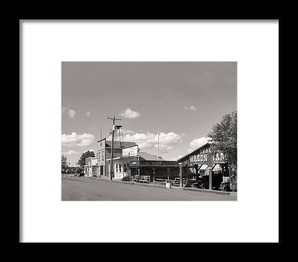 Black & White Framed Print featuring the photograph Main Street Shaniko by Mel Felix