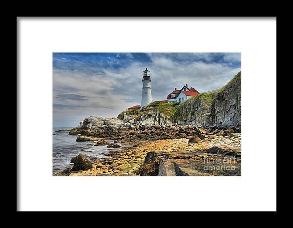 Portland Lighthouse Framed Print featuring the photograph Maine Head Light by Adam Jewell