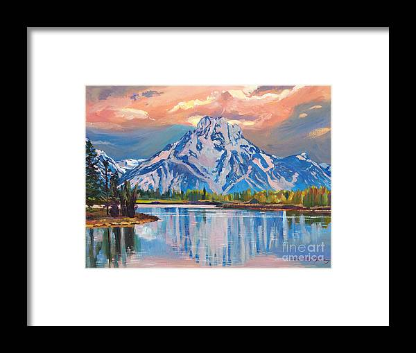 Landscape Framed Print featuring the painting Majestic Blue Mountain Reflections by David Lloyd Glover