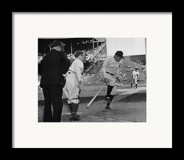1940s Framed Print featuring the photograph Major League Baseball. From Left Former by Everett
