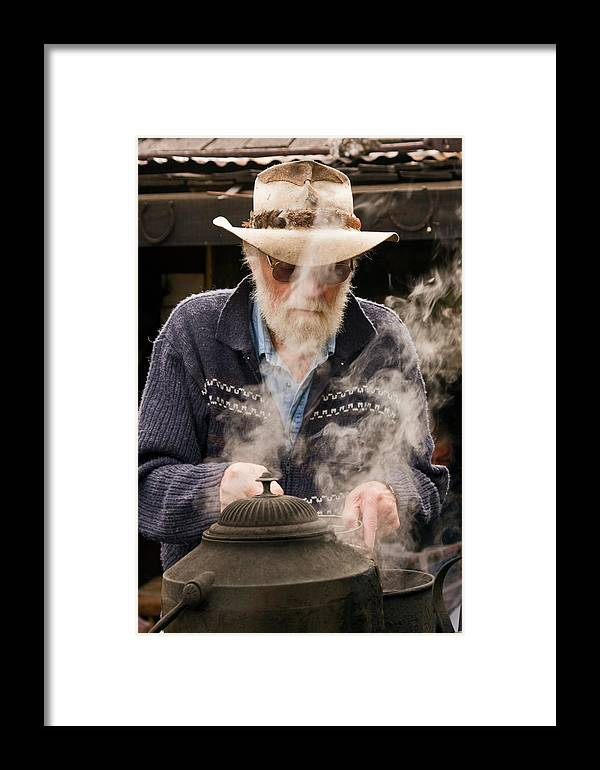Making Billy Tea Framed Print featuring the photograph Making Billy Tea by Sally Weigand