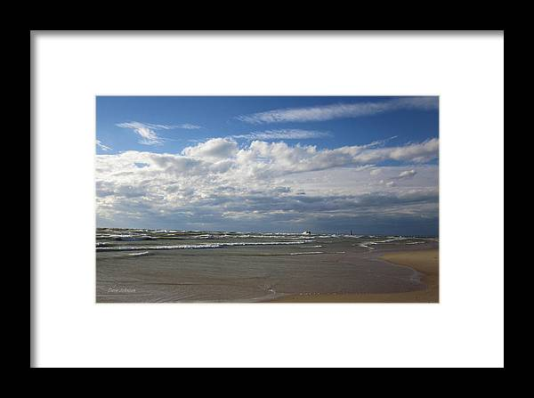 Grand Haven Framed Print featuring the photograph Making Waves by Dave Johnson