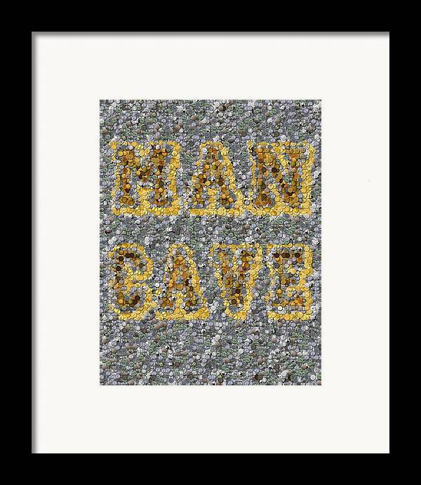 Man Cave Framed Print featuring the mixed media Man Cave Coin Mosaic by Paul Van Scott