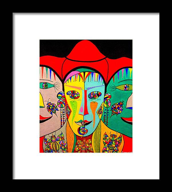 Abstract Framed Print featuring the painting Man In Reverse II by Marie Schwarzer